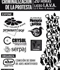 Foro sobre Criminalización de la Protesta en Liceo IAVA: Jueves 18 de Junio, 20 hs.