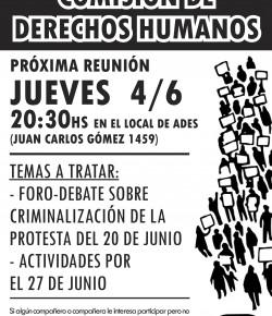 Convocatoria a reunión de la Comisión de DDHH de ADES Montevideo: 4 de junio, 20:30 hs