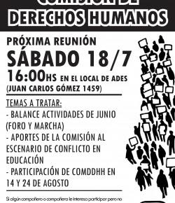 Reunión de la Comisión de Derechos Humanos de ADES Montevideo: sábado 18 de julio, 16 hs.