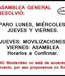 Los compañeros de ADEMU Montevideo resolvieron rechazar convenio y parar del 24 al 28 de agosto