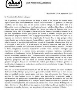 Carta al Sr Presidente Dr. Tabaré Vázquez