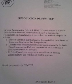 Resolución de la Mesa Representativa Federal de FUM-TEP