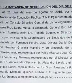 Acta Final de la Instancia de Negociación Tripartita ANEP / CSEU / MEF-OPP-MTSS