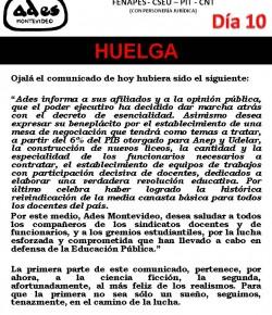 Comunicado de ADES Montevideo: como el Poder Ejecutivo no atendió nuestros reclamos, iniciamos 10° día de huelga