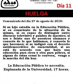 COMUNICADO DE ADES MONTEVIDEO: COMO EL PODER EJECUTIVO NO ATENDIÓ NUESTROS RECLAMOS, INICIAMOS 11° DÍA DE HUELGA