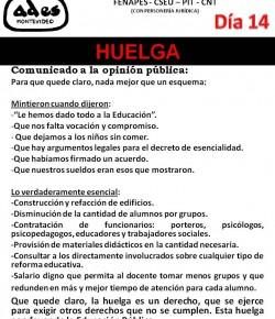 COMUNICADO DE ADES MONTEVIDEO: COMO EL PODER EJECUTIVO NO ATENDIÓ NUESTROS RECLAMOS, INICIAMOS 14° DÍA DE HUELGA