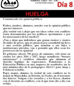 Comunicado de ADES Montevideo: como el Poder Ejecutivo no atendió nuestros reclamos, iniciamos 8° día de huelga