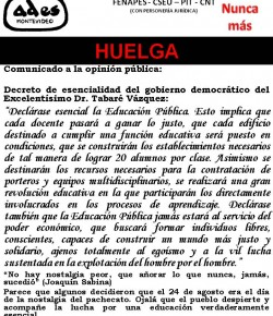 Comunicado de ADES Montevideo: como el Poder Ejecutivo no atendió nuestros reclamos, iniciamos 9° día de huelga