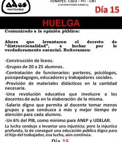 COMUNICADO DE ADES MONTEVIDEO: COMO EL PODER EJECUTIVO NO ATENDIÓ NUESTROS RECLAMOS, INICIAMOS 15° DÍA DE HUELGA