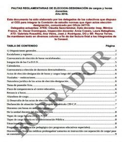 Borrador de pautas reglamentarias para la elección de cargos y horas del año lectivo 2016