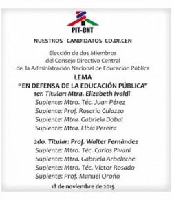 Elección de representantes al CODICEN: Plataforma de la Lista 1