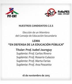 Elección de representantes al CES: Plataforma de la Lista 201