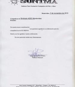 Saludo del Sindicato Único Nacional de Trabajadores del Mar y Afines