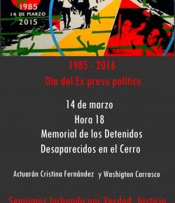 """Conmemoración de """"El día de la y del ex preso político"""": Lunes 14, Hora 18, Memorial del Cerro"""