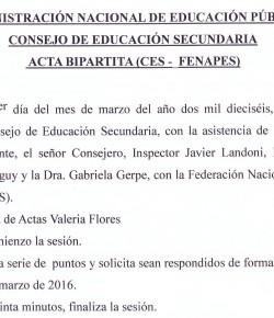 Respuesta de las autoridades del CES a planteos realizados por FENAPES en la bipartita del 01/03