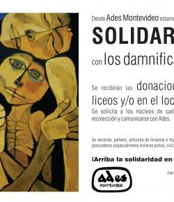 Desde ADES Montevideo estamos organizando la solidaridad con los damnificados
