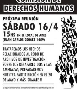 Reunión de la Comisión de Derechos Humanos: Sábado 16, Hora 15, Local Sindical