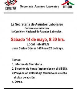 Comisión Nacional de Asuntos Laborales: Sábado 14, Hora 9:30, Local Sindical