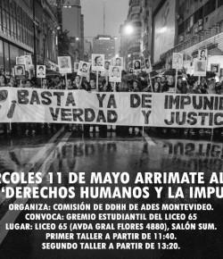 Taller Derechos Humanos y la Impunidad: Miércoles 11, Hora 11:40 y 13:20, Liceo 65