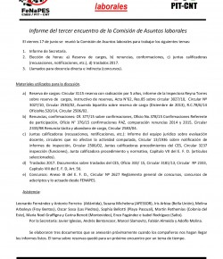 Informe del Tercer Encuentro de la Comisión Nacional de Asuntos Laborales