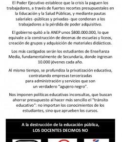 A la destrucción de la Educación Pública, los docentes decimos NO!!!