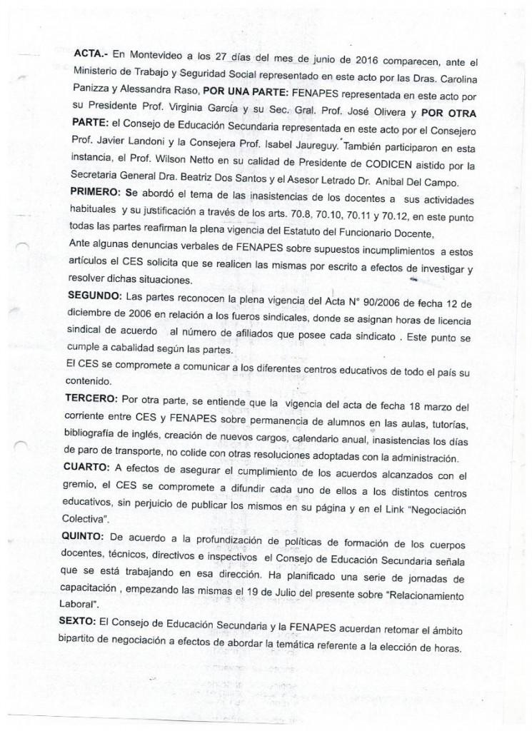 15 - Acta borrador que CES propone a DINATRA para acordar con FENAPES (no firmada) - 27 de junio de 2016 (1)