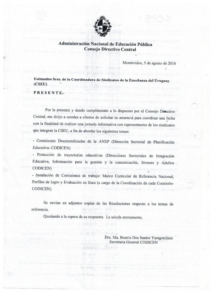 17 - CODICEN invita a la CSEU para informarla de reformas no negociadas - 5 de agosto de 2016