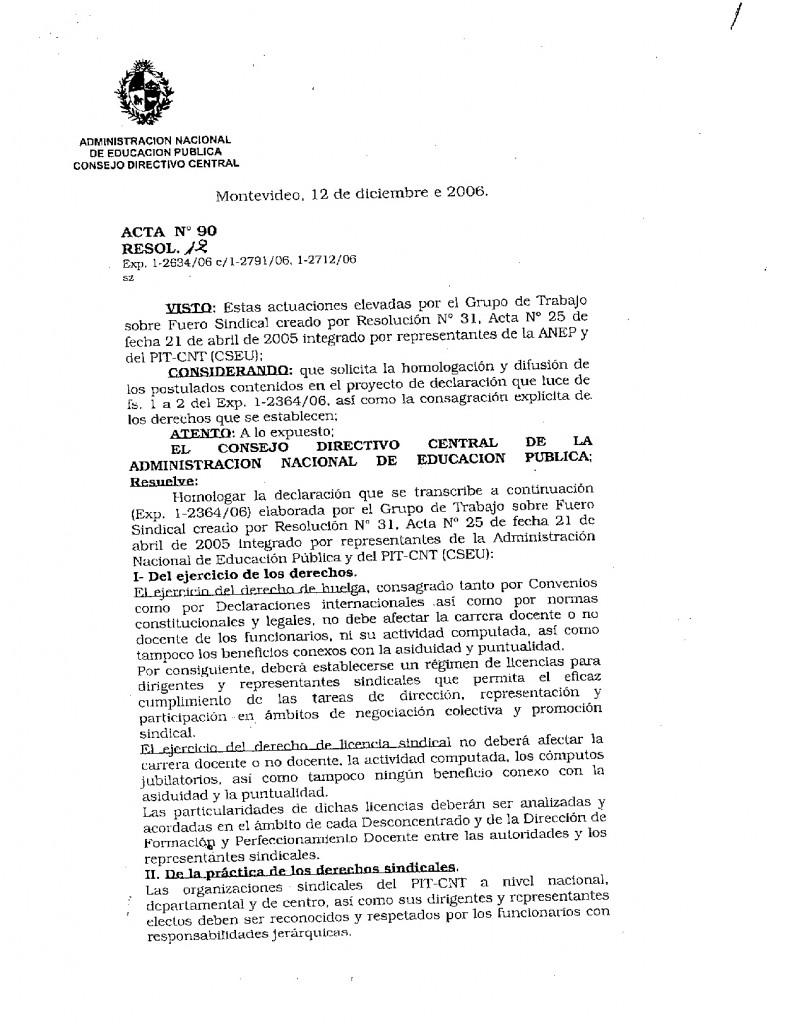 8 - Acta 90 del CODICEN sobre Fueros Sindicales para la CSEU - 12 de diciembre de 2006 (1)