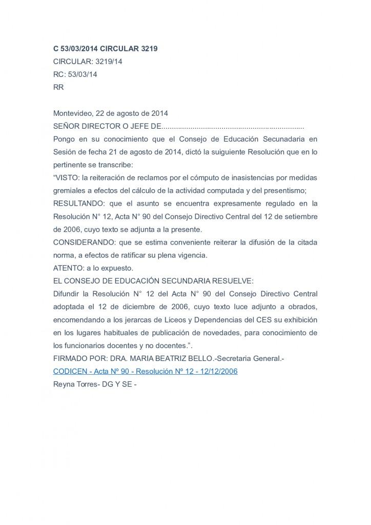 9 - Circular 3219 del CES que reglamenta el Acta 90 del CODICEN - 22 de agosto de 2014