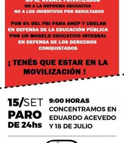 Jueves 15: Paro de 24 horas de los Sindicatos de la Educación. ¡Tenés que estar en la movilización!
