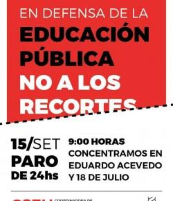 Jueves 15 de setiembre: paro de 24 horas de los sindicatos de la educación