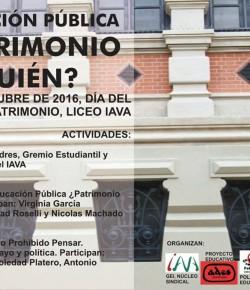 """Sábado 1° de Octubre: """"Educación Pública, ¿patrimonio de quién?"""" Liceo IAVA"""