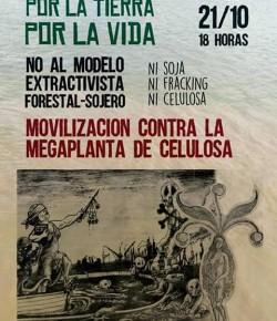 Movilización contra la mega planta de celulosa: 21 de octubre, Hora 18:00