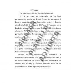 Recurso de revocación contra el decreto dictado el día 20 de marzo de 2017