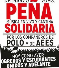 Peña Solidaria por los compañeros de Polo y AEES: Viernes 17, Hora 20, Paysandú 1179