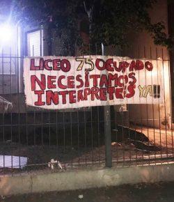 Núcleo Sindical del Liceo 75 manifiesta total apoyo a ocupación estudiantil y acompaña reclamos