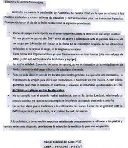 Núcleo Sindical del Liceo 22 denuncia que el CES incumple con acuerdos alcanzados