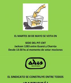 Martes 30: Elegimos a los integrantes de las Comisiones Directiva y Fiscal de ADES Montevideo