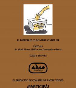 Miércoles 31: Elegimos a los integrantes de las Comisiones Directiva y Fiscal de ADES Montevideo