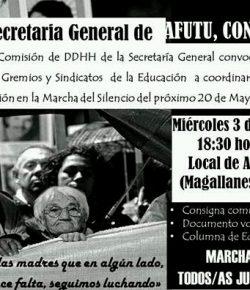 Coord. de Gremios y Sindicatos de la Educación para la Marcha del Silencio: Miércoles 3, Hora 18:30, Local de AFUTU