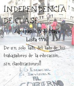 Agrupación 1° de Mayo: De un solo lado, del lado de los trabajadores de la educación