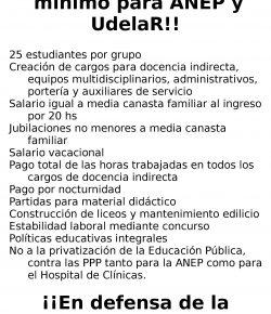 Zonal Noreste de ADES Montevideo denuncia privatización y exige creación de liceos y cargos