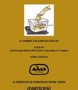 Viernes 2: Elegimos a los integrantes de las Comisiones Directiva y Fiscal de ADES Montevideo