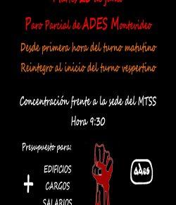 Martes 20 de junio: Paro Parcial de ADES Montevideo con concentración frente a la sede del MTSS