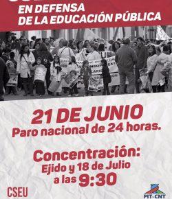 21 de Junio: Paro Nacional de 24 horas de toda la enseñanza (pública y privada)