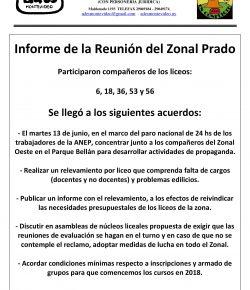 Informe de la reunión de coordinación de núcleos liceales del Zonal Prado de ADES Montevideo
