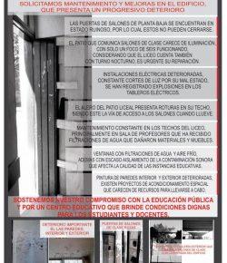 Núcleo Sindical del Liceo 14 ocupa el centro exigiendo mantenimiento y mejoras en el edificio