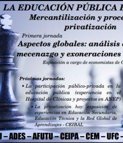 """Primera Charla Debate """"La Educación Pública en Jaque"""": Martes 15, Hora 19:30, IPA"""
