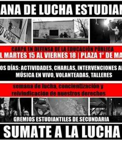 Carpa en Defensa de la Educación Pública: del martes 15 al viernes 18, Plaza 1° de Mayo