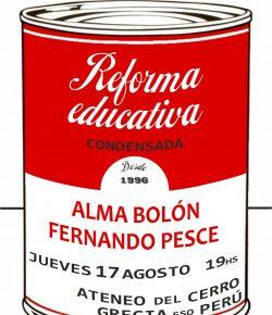 Charla Debate con Alma Bolón y Fernando Pesce: Jueves 17, Hora 19, Ateneo del Cerro